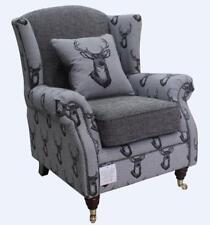 Ashley Fireside High Back Wing Armchair Antler Stag Charcoal Grey Chair