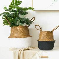 Seagrass Belly Basket Bathroom Laundry Storage Flower Plants Pots Garden Decors