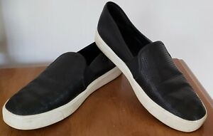 VINCE * BLAIR BLACK CALF LEATHER PERFORATED SLIP ON SNEAKERS *  7 / 37.5 * $200