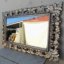 Specchio barocco in legno intarsiato cm 120x80 argento anticato modello classic