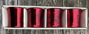 NIB Pottery Barn RED Antique Mercury Glass Tealight Candle Holders Set of 4