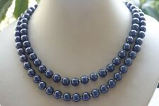 "Round Shell Pearl Necklace #f3201! longest 36"" Genuine Natural 8mm Blue"