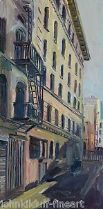Indian Alley Skid Row Los Angeles  Impressionism Cityscape John Kilduff 48x24