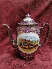 Gray's Pottery, Dickens Days, Pink Mottled Glaze with Scene: Coffee Pot 1