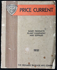 Original 1931 Creamery Package MFG. Co. Catalog Dairy Products