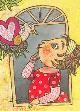 Kunstkarte / Postcard Art - Selda Soganci: Vogel am Fenster