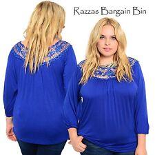 New Ladies Blue Lace Neck Top Plus Size 18 3XL (9846)ME