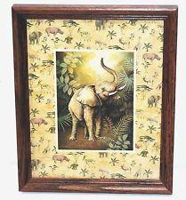 "Framed Art Poster Print Safari, Elephant - Trunk Up -  by T. C. Chiu, 11 x 9"""