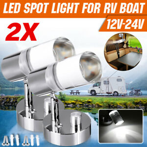 2X 12-24V Knob Dimmable LED Reading Spot Light Bedside Wall Lamp RV Boat