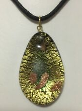 AS NEW - Pre Owned Art Glass Black Droplet Pendant with Gold & Copper Flakes