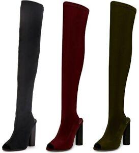 Women's Over The Knee Boots Peep Toe Open Back Block Heels Long Boots Sizes 3-8