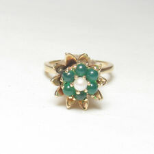 Estate 14K Yellow Gold Natural Chrysoprase And Pearl Tulip Flower Ring 0.50 Cts
