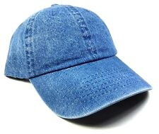 SLOUCH SOLID BLUE JEAN PLAIN DENIM DAD HAT CAP CURVED BILL ADJUSTABLE BUCKLE NWT