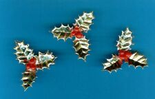 GOLD HOLLY CHRISTMAS CAKE DECORATIONS / TOPPERS Pack of 10 - FREE 1st CLASS P&P
