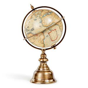 "Small Terrestrial Globe Old World Mercator Brass Stand 8.66"" Tabletop Desk Decor"