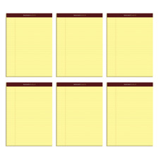 TOPS Docket Gold Premium Writing Pad, Legal Ruled, Canary, 6-Pk
