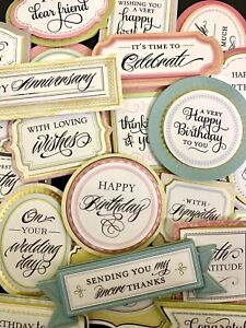 Anna Griffin 24pc Sentiment STICKERS 3d Dimensional Various Phrases Occasions