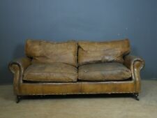 VINTAGE CLASSIC ENGLISH TIMOTHY OULTON LOOK 2 SEATER SOFA IN DISTRESSED LEATHER