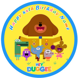 Pre-cut, personalised, edible, themed, cake, cupcake topper, Hey Duggee