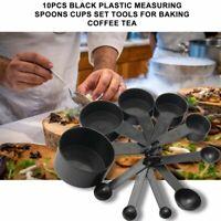 10Pcs Black Plastic Measuring Spoons Cups Set Tools For Baking Coffee Ku