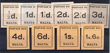 Malta 1925 Sg D1 - D10 KGV Postage Dues set complete  VERY LIGHTLY M/MINT