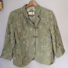 Soft Surroundings Green Silk Embroidered Jacket Size Small
