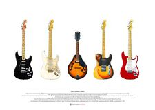David Gilmour's Guitars ART POSTER A2 size