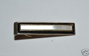 WOW Vintage Black & White Shell on Gold SWANK Men's Tie Bar Clasp Rare