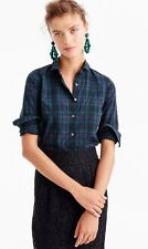 NWT J.CREW Club Collar Perfect Shirt Black Watch Plaid Tartan Sz 6 #F9294 New