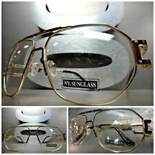 CLASSIC VINTAGE 70's RETRO Style Clear Lens EYE GLASSES Gold Brown Fashion Frame