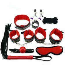 8pcs Foreplay Leather Bondage Slave Restraint Handcuffs Fetish Games Couple Kits