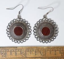 Bali Style Sterling 925 & Gemstone Dangle Earrings Reddish Brown Stone #186
