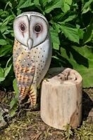 Hand painted Barn Owl Garden Bird hand carved British Bird Ornament