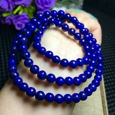 f3998e44396e Natural Lapis Lazuli Royal Blue Gems Beads Bracelet 6mm AAA 3rows