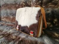 Vintage Swiss Mountain Bag Cowhide Leather School Rucksack Backpack Handwork