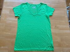 Women's Under Armour Heatgear V Necked Shirt Top S Small Semi-Fitted Green