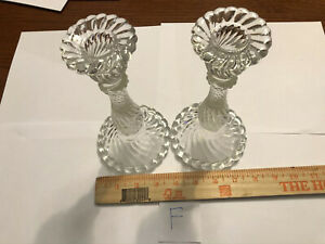 Pair Of Vintage Clear Glass Candle Holder