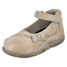Chaussures beige avec attache auto-agrippant en cuir pour fille de 2 à 16 ans