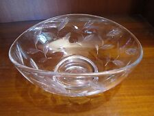 Oval Cut Glass Bowl Cut Leaves Pattern Signed Stuart England