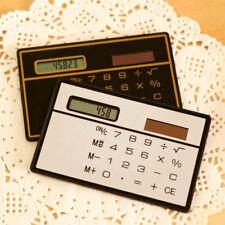 8 Digits Mini Slim Credit Card Ultra Thin Solar Power Pocket Calculator GM New
