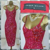 KAREN MILLEN Heavy Sequin & Beaded 20s Hourglass Bodycon Festive Party Dress UK8