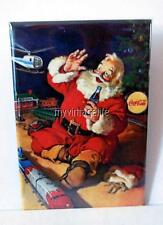 "Vintage LIONEL TRAIN SANTA CLAUS COCA COLA 2"" x 3"" Fridge MAGNET art christmas"