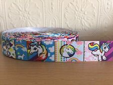 "1m Unicorn Rainbow Multi Stripe Clouds 25mm 1"" Grosgrain Ribbon, Craft Cake Bow"