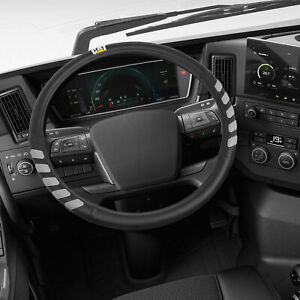 """Leather Sports Grip Leather Steering Wheel Cover Protector RVs Big Rigs CAT 18"""""""