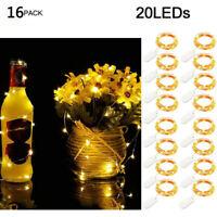 16PC Wine Bottle Fairy String Lights 20 LED Battery Cork Party Christmas Wedding