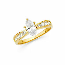 14k Yellow Gold Solitaire Marquise CZ Engagement Ring