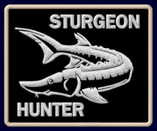 "STURGEON HUNTER EMBROIDERED PATCH ~3-1/8""x 2-1/2"" OUTDOOR SPORT FISHING ROD STÖR"