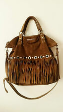 MIU MIU brown suede leather fringe tassel eyelet stud tote shoulder bag