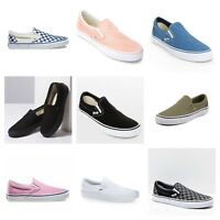 New Vans Womens White Blue Checker Black Slip On Canvas Nylon Shoes Sizes 4.5-12