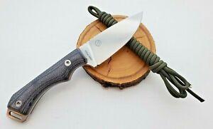 QSP Workaholic Fixed Blade, Satin N690 Blade, Black Micarta, Leather Sheath
